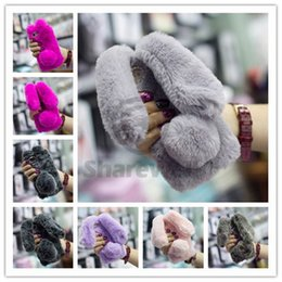 Wholesale Warm Ear Covers For Winter - New Item Lovely Rabbit Fur Cover PANDA Long Ears Ball Winter Warm Furry Phone Case For Iphone 7 6 6S Plus-A005