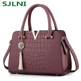 Wholesale Genuine Leather Designer Hand Bags - Fashion Alligator genuine leather women handbags famous designer brand bags Luxury Ladies Hand Bags And Purses Messenger shoulder bags
