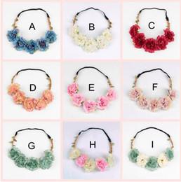 Wholesale Wholesale Garlands Wreaths - Hot sale Girls hair accessories for wedding Bohemian Style Wreath Flower Crown Wedding Bride Garland Forehead Headband