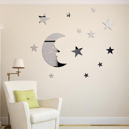 Wholesale Home Kids Room Diy - Stars And Moon Combination 3D Mirror Stickers Childrens Wall Stickers Home Diy Mirror Decorative Combination Diy Moon Stars Wall Sticker