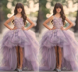 Wholesale Dress Ball Gown - Lavender High Low Girls Pageant Gowns Lace Applique Sleeveless Flower Girl Dresses For Wedding Purple Tulle Puffy Kids Communion Dress