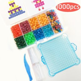 Wholesale beads pegboards - Wholesale- Water Aqua Beads Set Toys Sticky Hame Perler Beads Pegboard Set Fuse Beads Jigsaw Puzzle Water Beadbond Educational Toys Diy Kid