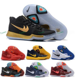 Wholesale Pink Burgundy Ties - New Kyrie Irving Black White Men Basketball Shoes Kyrie 3 Bright Crimson Tie Dye BHM All Star Basketball Sneakers High Quality Running Shoes