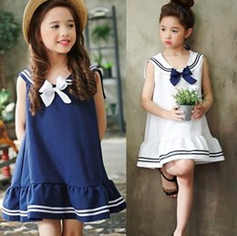 Wholesale Korean Outfit Dress - Parent-child outfit summer new children's clothing girls dress fashion navy wind bow dresses Korean jumper skirt stripe princess dress B4689