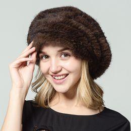 Wholesale Girls Russian - Ms.Leefur Real Knitted Mink Fur Hat Casual Female Cap Women Hats Winter 2017 Female Sex Russian Fur Caps Fashion Casquette