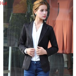 Wholesale Womens Work Suits - Fashion 2017 Formal Blazer Jacket Womens OL Work Office Cardigan Ladies Elegant Black White Casual Outwear Suit Wholesale SV004771