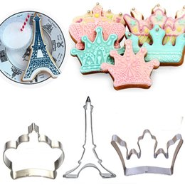 Wholesale Eiffel Tower Candy - 3pcs Imperial crown Eiffel Tower Baking Mold Sugarcraft Fondant Cake Decorating Tool Cookie Cutter Candy Biscuit Pastry Mould