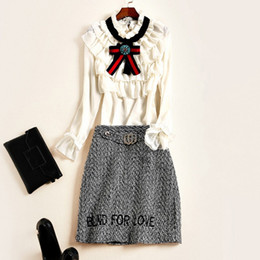 Wholesale Long Slim Black Skirt - The new Europe and the United States women's 2017 spring Falbala bowknot collar shirt skirt + letter fashion suits