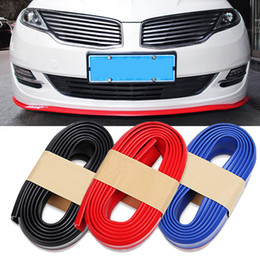 Wholesale Black Front Bumper - 2.5M Car Styling Bumper Front Lip Guard Protection Rubber Skirt Protector Trim Protective Scratch Resistant Anti-Scratch Sticker 6cm Width