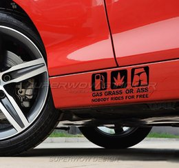 Wholesale Riding Cars - Foreign trade GAS GRASS OR ASS NOBODY RIDES FOR FREE reflective car stickers