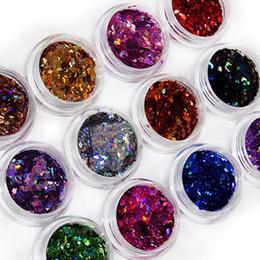 Wholesale Rhombus Glitter Nail Art - Wholesale- 2015 12 Colors 3D Rhombus Shape Glitter Acrylic Nail Art Salon Sequins Powder Stickers Tips DIY Decor Decorations 51N6