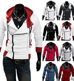 Wholesale Mens Creed Jacket - Wholesale-2016 Stylish Mens Assassins Creed 3 Desmond Miles Costume Hoodie Cosplay Coat Jacket