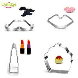 Wholesale Moustache Lips - Delidge 1 pc Lipstick Cupcake Lip Moustache Shape Cookie Mold Stainless Steel Cake Fondant Mold DIY Cookie Cutter Mousse Ring