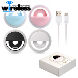 Wholesale iphone flash ring - For Iphone X Rechargeable Universal Luxury Smart Phone LED Flash Light Up Selfie Luminous Phone Ring For iPhone Android With USB Charging