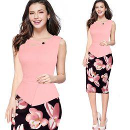 Wholesale elegant women wear - Women Summer Sleeveless Button Flare Floral Print Elegant Business Party Formal Work Office Peplum Bodycon Pencil Dress