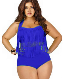 Wholesale Push Up Fringe Bikini - 2017 PLUS SIZE Big and Beautiful Womens Retro Fringe Tassel Top High Waisted Bikini Push Up Bandeau Rockabilly Swimwear Swimsuit