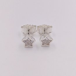 Wholesale Cz Gold Studs - Authentic 925 Sterling Silver Studs Star Silver Stud Earrings With Clear Cz Fits European Pandora Style Jewelry