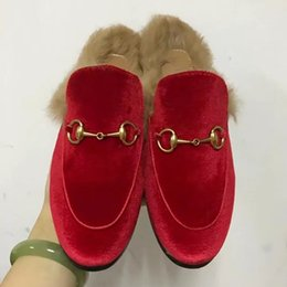 Wholesale Ladies Velvet Flats - 2017 Women Luxury Brand Velvet Fur Slippers Winter Real Fur Flat Shoes European Designer Ladies Embroidery Fashion Horsebit Loafers M22