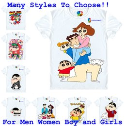 Wholesale Womens Black White Costumes - Coolprint Anime Shirt Crayon Shin chan T-Shirts for Mens Womens and Youth Shin-chan cartoon Cosplay Costume Japanese Kawaii Tee MultiStyle
