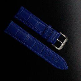 Wholesale 22mm Genuine Crocodile Watch Strap - Wholesale-Crocodile Pattern Genuine Cow Leather Strap Watch Band Strap dark blue Watchband men women 14mm 16mm 18mm 20mm 22mm promotion