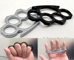 Wholesale Wholesale Duster - 30pcs(Black and Silver)Thin Steel Brass knuckle dusters,Self Defense Personal Security Women and Men self-defense Pendant DHL FEDEX FREE