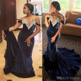20ace39a6ba9 Gorgeous Navy Blue Off-Shoulder Appliques Sheath Evening Dresses 2017 Beads Stretch  Satin Pageant Cheap Prom Dress Women Formal Party Gowns