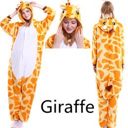Wholesale Giraffe Halloween Costume Adult - Cartoon Animal Giraffe unisex adult flannel onesies Onesie Pajamas kigurumi Jumpsuit Hoodies Sleepwear For Adults Welcome Wholesale order