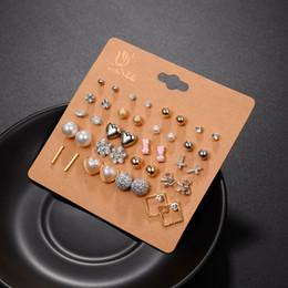 Wholesale Cute Heart Earrings - 100pairs (20pairs set ) Earrings Fashion Elegant Shiny Gold Color Heart&Crystal&Pearl&Flowers&cross Stud Earrings Cute Earring Sets For