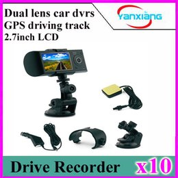 Wholesale Car Driving Video Recorder - 10PCS Dual lens car dvr 2.7inch LCD screen R300 HD 1080P video recorder,G-sensor ,support gps driving track,car camera YX-R300-1