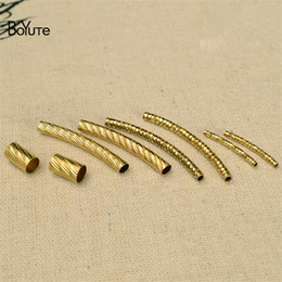 Wholesale Tube Bending Beads - BoYuTe 100Pcs HOT Sale Metal Brass Tube Bend Fashion Diy Accessories Parts for Jewelry Making Components