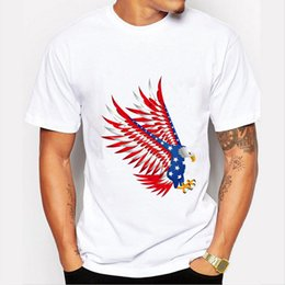 Wholesale Usa Eagles - Hot Sale 2017 Fashion Funny USA Flag Eagle Design T Shirt Men Casual Male Tops Hipster Printed Own Style Tee Shirts Mens Clothes