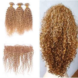 Wholesale Honey Blonde Hair Weave - #27 Honey Blonde 13x4 Ear to Ear Full Lace Frontal Closure With Strawberry Blonde Kinky Curly Virgin Malaysian Human Hair Bundles 4Pcs Lot