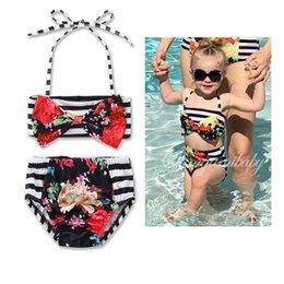 Wholesale Metallic Swimwear Bikini - Retail 2017 Ins Baby Girls Cute Swimwear Floral American flag 4th of July Bow Bikini Fashion Two Piece Swimming Suit For Children 17003