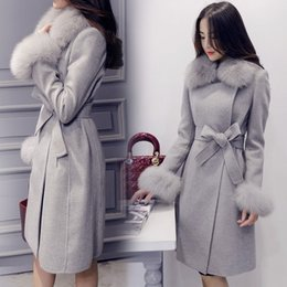 Wholesale Coat Womens Woolen - Graceful Womens lady trench coat woolen fur collar fur cuff warm with belt Korean Long Slim Fit Jacket outwear Cashmere 3Colors