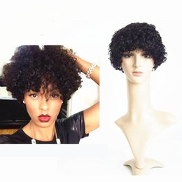 Wholesale Super Short Wigs - Super Short Hairstyles 2016 short Curly Wigs human hair 6inch Black Color Natural Cheap Hair Wig Machine Made Human Hair Wig