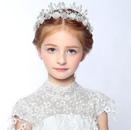 grandes coronas de strass Rebajas White Baby Hair Princess Accesorios de la corona Rhinestones grandes Floral Girl Hairband boda y regalo 2017