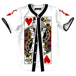 Wholesale Wholesale S Baseball Jersey - Wholesale- 2016 Summer shirt 3d print Playing card The King of Diamonds Baseball shirt Korean style Harajuku Punk Baseball jerseys shirts