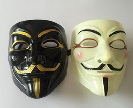 Wholesale Mask V Vendetta Pvc - Wholesale 100pcs Halloween Mask With Gold Eyeliner V for Vendetta Mask Guy Fawkes Party Costume Mask DHL Fedex Free Shipping
