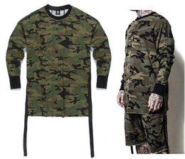 Wholesale Camouflage Shirt Long Sleeve - Kanye West Military Army Camo T-shirts 2017 Summer Long Sleeve Hip Hop Justin Bieber Swag T-shirt Mens Oversize Camouflage Tops
