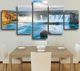 Wholesale Abstract Waves Painted Walls - Waterfall Five Of Paintings Scenery Painting 5 Pieces Waterfall Sunrise The Beach With Screw Ocean Wave Wall Print Canvas Home