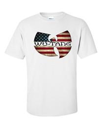 Wholesale Large Tee Shirt Men - Short Sleeve Round neck Top Tee Wu Tang Clan American Flag Men't T-Shirt - Large White T shirt