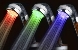 Wholesale Shower Set Temperature - LED Anion shower nozzle colorfu shower head pressurized Handheld spa shower set germicidal filter unit Bathroom part temperature adjustable