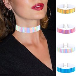 Wholesale Rainbow Chokers - Fashion PU Leather Chokers Necklace for Women Gift 2017 Handmade Laser Clavicle Rainbow Punk Gothic Silver Color Necklace Statement Jewelery