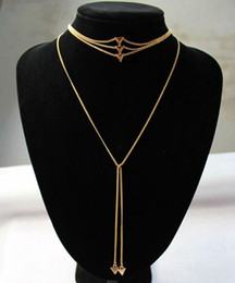 Wholesale 14k Gold Body Chain - Hot Punk Women's Multilayers Statement Necklace Triangle Chokers Necklaces 2pcs set Fashion Geometry Jewelry Body Chains High Quality F21