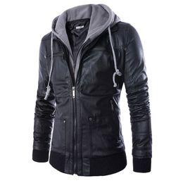Wholesale Leather Jacket Hoodie - Wholesale- Men Locomotive Leather Jackets Fashion Mens Hoodie PU Coat False two motorcycle leather Jaqueta De Couro Masculina Slim Leather