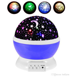 Wholesale Moon Projectors - 2017 Newest Romantic New Rotating Star Moon Sky Rotation Night Projector Light Lamp Projection with high quality Kids Bed Lamp