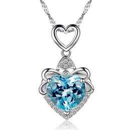 gargantillas de rubí Rebajas Chapado En plata Colgantes Collar Llamativo Ruby Sapphire Amatista gargantilla Vintage Love Heart collares CZ Diamond Joyería de las mujeres