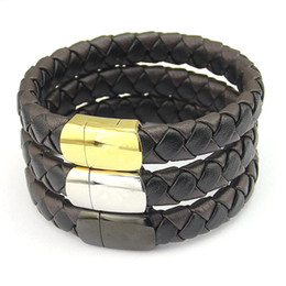 Wholesale Shops Stainless Steel Jewelry - Jewelry wholesale men's coffee shop, black leather woven leather bracelet, magnetic buckle leather rope, men's Bracelets