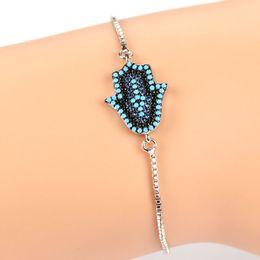 Wholesale Rhombus Beads - Hamsa Fatima Hand rhombus design Bead Bracelet Micro Pave CZ Bracelets Unisex Turkey Adjustable Chain Bracelets JF
