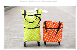 Wholesale Wheel Shopping Trolley - Foldable Shopping Trolley Wheel lightweight Folding Bag Traval Cart Luggage GreenOxford Doek foldable bag new reusable shopping bag trolley